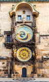 Prague astronomical clock in Old Town Square. Prague astronomical clock in the building of the Old Town Hall. Prague, Czech Republic Stock Images