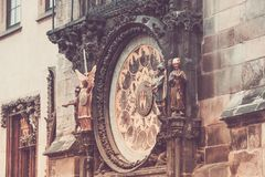 Prague astronomical clock Orloj. Detail of the Prague astronomical clock Orloj in the old town in 2015, May before renovation Stock Photography