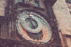 Prague astronomical clock Orloj. Detail of the Prague astronomical clock Orloj in the old town in 2015, May before renovation Stock Image