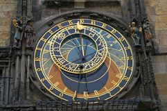 The Prague astronomical clock. Or Prague orloj, is a medieval astronomical clock located in Prague, the capital of the Czech Republic Stock Images