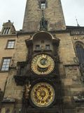 Prague Astronomical Clock. The Orloj is mounted on the southern wall of Old Town Hall in the Old Town Square. The clock mechanism itself has three main royalty free stock photography