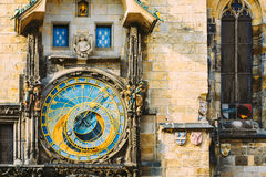 Prague Astronomical Clock or Orloj At Old Town City Hall, Czech Republic Stock Photos