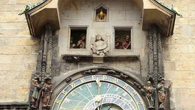 Prague astronomical clock performance, Old Town. Part 1 of 2. Stock footage stock video footage