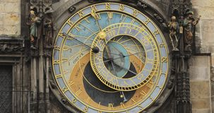 Prague Astronomical Clock, Or Prague Orloj Is A Medieval Clock Located In Prague, The Capital Of The Czech Republic. The Prague Astronomical Clock, Or Prague stock footage