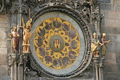 Prague Astronomical Clock (Prague Orloj) on the wall of Old Town City Hall, Prague, Czech Republic Stock Image