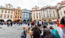 Prague astronomical clock square. Prague astronomical clock crowded square Stock Images