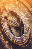 Prague Astronomical Clock with Sunlight Flare Royalty Free Stock Photo