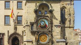Prague Astronomical Clock timelapse 8k. Prague Astronomical Clock timelapse , medieval astronomical clock, on the southern wall of Old Town City Hall in the Old stock video