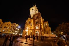 Prague astronomical clock tower at night stock photo