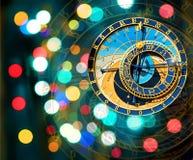 Prague Astronomical Clock on Xmas background Stock Photos