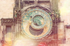 Prague astronomisk klocka & x28; Orloj& x29; - tappningstil Royaltyfri Bild