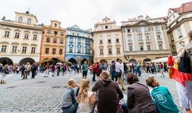 Prague astronomisk klockafyrkant Arkivbilder