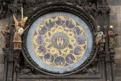 Prague astronomisk klockaOrloj kalender Fotografering för Bildbyråer