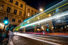 Prague At Night  Town Bridge Tower Royalty Free Stock Image