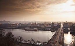 Prague At Sunset Stock Photography