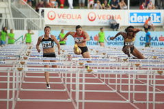 Prague athletics race - 100 metres hurdles Stock Image