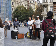 Prague,august 29:Artists Street in Old Town Plaza of Prague,Czech Republic Stock Images