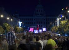 Rally of people in eve of 50th anniversary of the Warsaw Pact in. PRAGUE - AUGUST 21, 2018: Assembly of people and concert on Wenceslas Square in context of 50th stock image