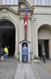 Prague,August 29:Guard of Hradcany Castle Gate from Prague in Czech Republic Stock Image