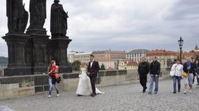 Prague,august 29- Happy Couple on Charles Bridge from Prague in Czech Republic Stock Photos