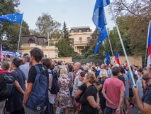 Rally of people in eve of 50th anniversary of the Warsaw Pact in. PRAGUE - AUGUST 18, 2018: Hundreds of people commemorate the 50th anniversary of the Warsaw royalty free stock photos