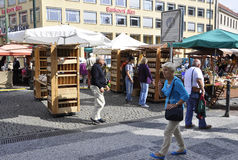 Prague,august 29:Market and food stands in Prague,Czech Republic Stock Images