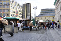 Prague,august 29:Market stands in Prague,Czech Republic Royalty Free Stock Photography
