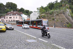 Prague,august 29:Modern articulated Tram in Prague,Czech Republic Royalty Free Stock Images