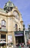 Prague,august 29:Municipal House entrance in Prague stock image