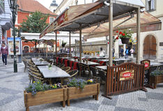 Prague,august 29:Terrace from Prague in Czech Republic Royalty Free Stock Images