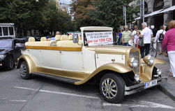 Prague,August 29:Vintage Car for Sightseeing tours of Prague in Czech Republic Royalty Free Stock Image