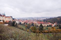 Prague. Autumn cityscape from the hill stock image