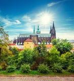 Prague autumn landscape with Saint Vitus Cathedral Royalty Free Stock Image
