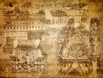 Prague background. Abstract Prague background with famous places stock photo