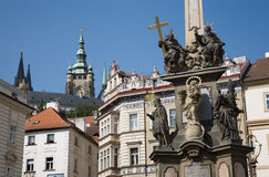 Prague - baroque column of Holy Trinity Stock Image