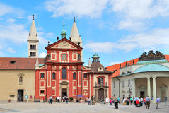 Prague. Basilica of St. George at Prague Castle Stock Photo