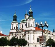 Prague: beautiful St. Nicholas Church Stock Photos