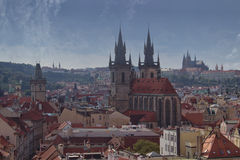 Prague, the beautiful!. Beautiful view of Prague from the Powder Tower. In the foreground you can see the Church of Mother of God in front of Tyn, on the left Royalty Free Stock Photography