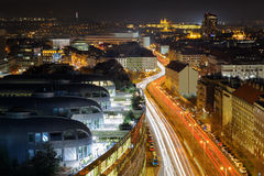 Prague from beauty bird perspective. Modern urban Prague part with old town in background Royalty Free Stock Photography