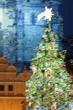 Blurred Christmas Tree at the Old Town Square Stock Photography