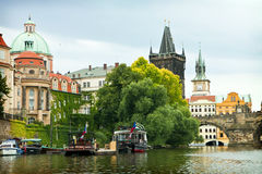 Prague, boats on Moldau river Stock Image