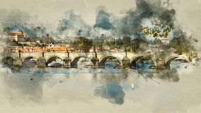 Prague Bridge. Architecture and landmark of Prague. Watercolor background Stock Photography
