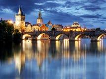 Prague bridge at night Stock Photo