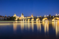 Prague bridge at night Royalty Free Stock Photography