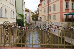 Prague. A bridge over the Certovka canal with padlocks fastened stock image