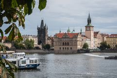Prague, the bridge over the Vltava, the castle, 2017-09-12 stock photos