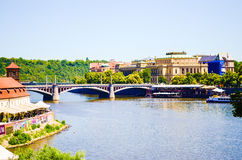 Prague. Bridge on Poltava river in Prague Royalty Free Stock Images