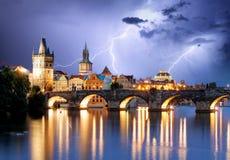 Prague bridge at storm Royalty Free Stock Photos