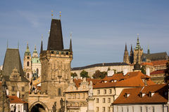Prague bridge towers Royalty Free Stock Photo