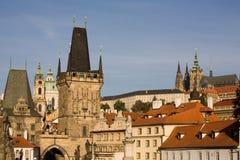 Prague bridge towers royalty free stock photo